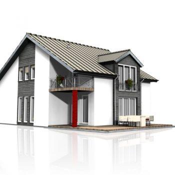 Nowy dom z bramą garażową segmentową